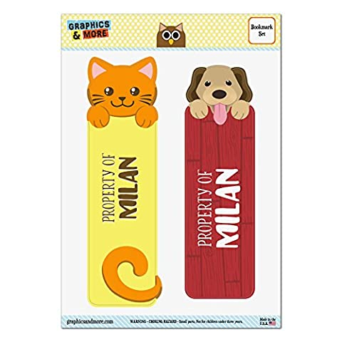 Set of 2 Glossy Laminated Cat and Dog Bookmarks - Names Male Mi-My - Milan
