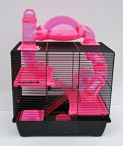 NagerkäfigHamsterkäfig,Zwerghamsterkäfig Rocky,Teddy Lux,Hamster,Maus,Nager,Käfig,Mäusekäfig incl. Röhrensystem in pink - Super Käfig Hamster