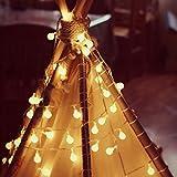 Lianqi Lampade a Sfera a Sfera Solare, 2M, 2 Modi, 20 LED, Pallina di Cristallo Calda Bianca, luci a Forma di globi del Globo, luci Decorative all'aperto di Natale, luci a Forma di Arco per Giardino