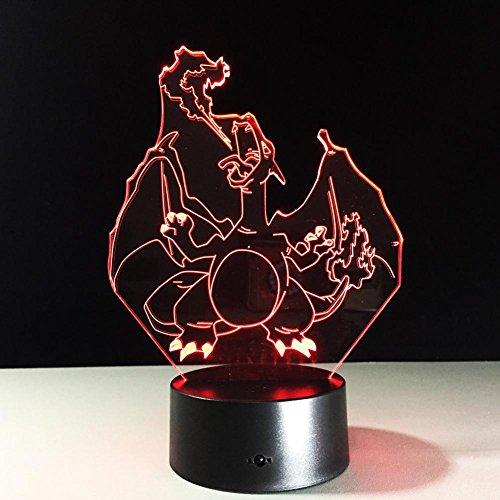 OOFAY LIGHT® 3D LED Nachtlicht Lampe Spitfire Dragon Optical Illusion Touch 7 Farbwechsel mit Acryl-Flat, ABS-Kunststoff-Basis, USB-Ladegerät Tisch Schreibtisch Schlafzimmer Dekoration Licht (Dragon Touch-lampe)