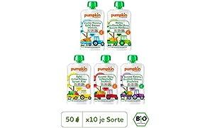 Pumpkin Organics SNACK PACK Bio Gemüse Quetschies, 50er Pack (50 x 100g) - Snacks für Kinder und Babys ab dem 12. Monat