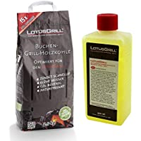 Lotus-Grill Bolsa de carbón Vegetal de Haya, 2,5 kg, Incluye Pasta Combustible LotusGrill de 500 ml, ambas diseñadas para Asar sin Humo con LotusGrill