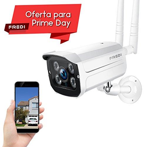 FREDI 720P WiFi Wireless IP Security Cámara Bala(resistente al agua) Monitor de Seguridad Cámara de seguridad inalámbrica/camara vigilancia exterior Admite tarjeta SD 128G(no incluye) Vision Nocturna
