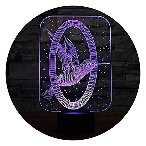 ovisionKinder DEK Form-Nachtlicht des Kolibri-3D, Farben-Sicht-LED-Dekorations-Baby-Schlaf-Beleuchtungs-Kindergeschenke des Schlafzimmer-Nacht- 7 Visuelle Stereovision ()