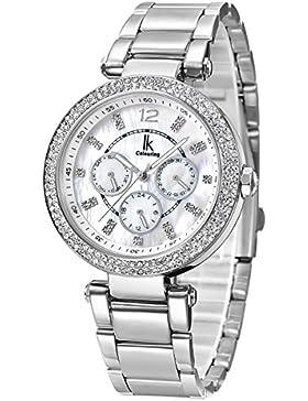 Alienwork Quarz Armbanduhr Perlmutt Uhr Damen Uhren Mädchen Strass Metall weiss silber K002GA-02