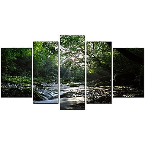 OBELLA nuevo muro art Canvas Prints 5piezas–Forest Stream–interior con marco, listo para colgar–Aceite Pinturas Prints y fotos imagen de fotografía de pared Art Prints sobre lienzo para dormitorio sala de estar decoración de la pared regalos de Navidad