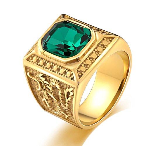 Edelstahl Grün Rechteck Zirkonia Drachen Gold Partnerring Retro Ringe Herren Gr. 67 (21.3) (4 Mann Drachen Kostüm)