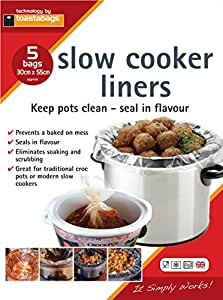 Toastabags Slow Cooker Liner, Transparent, Pack of 5
