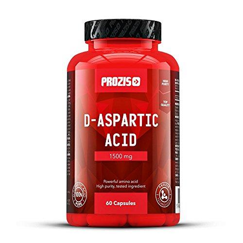 Prozis Acide D-Aspartique pur en gélules (1 500 mg) - Booster de testostérone de première qualité pour plus de force, d'endurance et d'énergie - 60 gélules !