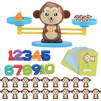 Ailyoo Monkey Apprentissage des mathématiques Jeu,Jouet de Balance d'apprentissage précoce,Early Education Jouet Animal Balance Balance Mathématique pour Enfants, Jouets
