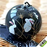 Generic Japanese Traditional Culuture Glass Black Rabbits Wind Chimes Bell Summer Cool