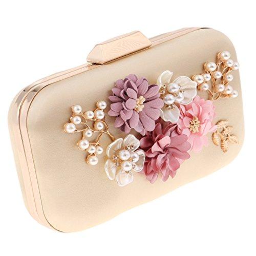 Crystal Abend Clutch Bag (Sharplace Damen Tasche Handtasche Party Clutch Bag Hochzeit Abend Kettentasche Umhängetaschen mit Strass Perlen Blumen Design - Aprikose, wie beschrieben)