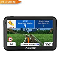 AONEREX Sat Nav GPS Navigation System, 5-Inch HD Touch Screen&Built-in 8GM-128MB Navigator System for car Navigation with UK&EU Latest 2018 Maps Lifetime Free Updates