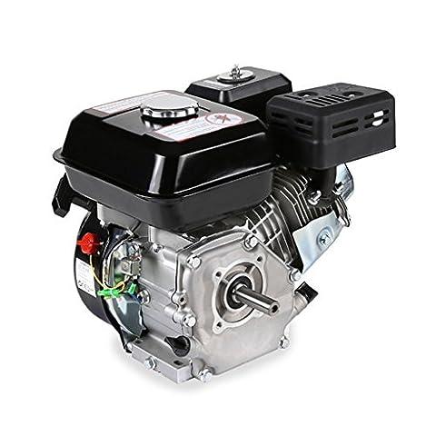 EBERTH 6,5 PS 4,8 kW Benzinmotor Standmotor Kartmotor Antriebsmotor Austauschmotor (Ölmangelsicherung, 19,05 mm Ø Welle, 1 Zylinder Benzinmotor, 4-Takt, luftgekühlt, Seilzugstart), Schwarz