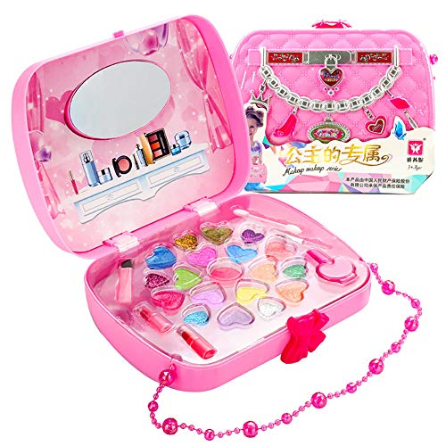 Pretend Mädchen spielt Makeup Kit - Pretend Play-Kosmetik und Make-up Set Schönheitssalon Set Verkleidung Spielzeug für Kleinkinder Mädchen-Geburtstags-Geschenk-Set-pink -