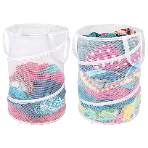 pbarer Wäschekorb - Wäschebeutel aus atmungsaktivem Mesh-Gewebe - platzsparend zusammenklappbar - für nasse und trockene Kleidung - Wäschesack für Waschmaschine - weiß ()