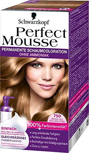 Perfect Mousse permanente Schaumcoloration, 750 Dunkelgoldblond, 3er Pack (3 x 1 Stück)