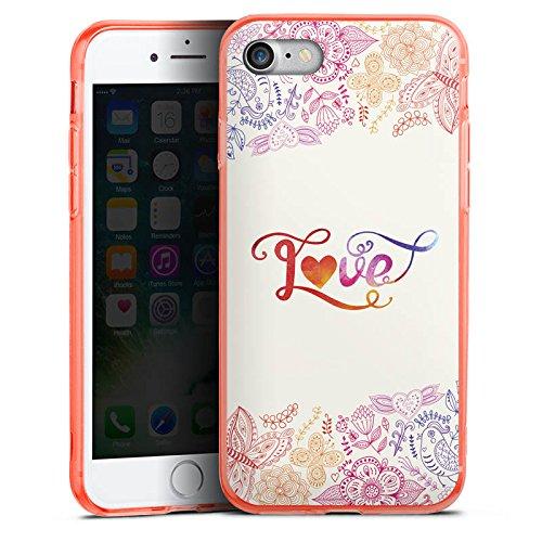 Apple iPhone 8 Silikon Hülle Case Schutzhülle Love Sprüche Schmetterling Blumen Silikon Colour Case neon-orange