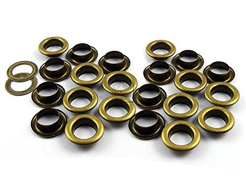 Craftmemore Ösen mit Unterlegscheiben für Schuhe, Perlenkern, Kleidung, Leder, Leinen, 8 mm, 100 Stück 8 mm messing antik-optik (Druckknöpfe Aus Metall Antik-gold)