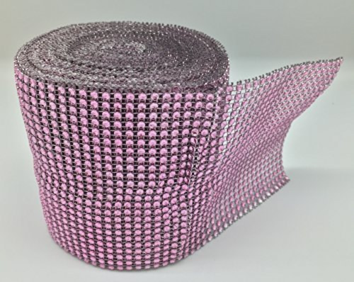 LIGHT PINK Diamond Mesh Wrap Roll Rhinestone Crystal Ribbon 4.5 x 10 yards by Gift Square Décor