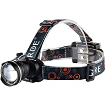 Foco Frontal Linterna LED GRDE Super Brillante Linterna Frontal 1800 Lúmenes Zoomable Linterna Frontal de Cabeza LED Para Caza, Pesca, Correr, Ciclismo, Camping, Trabajo de Noche y Más (Negro)