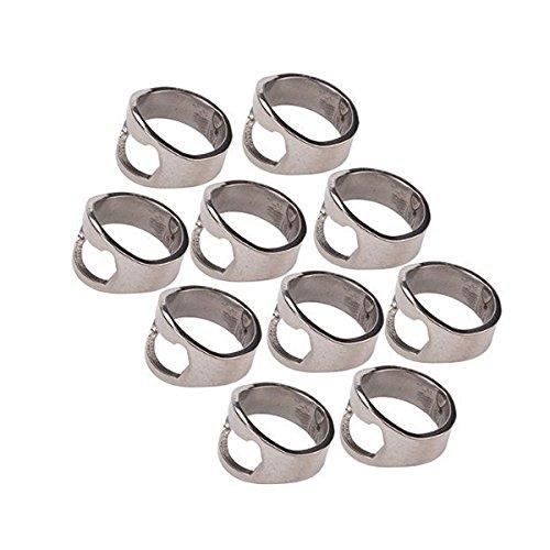 Flaschenöffner Ring-NUOLUX Edelstahl Finger Ring Bottle Opener-10ST