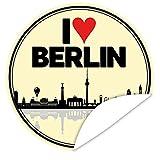 I love Berlin Aufkleber ♥ Veredeln Sie Geschenke mit einem tollen Aufkleber ♥ Jahrestag Geschenk Berlin ♥ inkl. Alles Gute - Postkarte ♥ rund ♥ 9,5 cm
