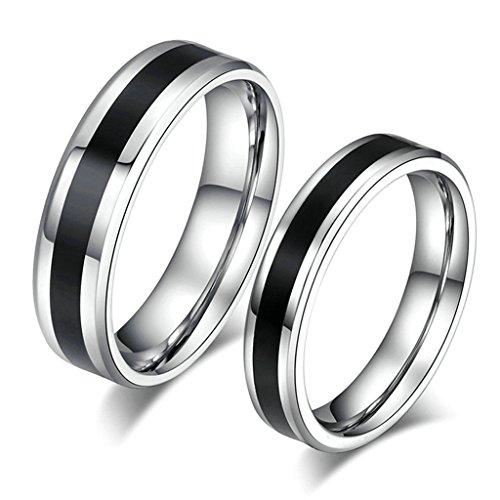 AmDxD Schmuck Damen Ringe 4MM Edelstahl (mit Gratis Gravur) Hoch Poliert Ehering Silber Schwarz Größe 54 (Kostüme Pierre Silber)