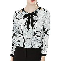 Geilisungren Blusas para Mujer Elegantes Verano Oficina de Trabajo de Las Mujeres Camiseta Corta Cuello Redondo Top Manga Larga Arco Pullover Impresión Ropa de Mujer Casual Camisetas Originales