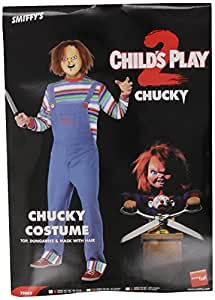 Smiffy's Chucky Costume for Men Includes Top, Dungarees and Mask - Small