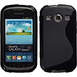 PhoneNatic Case für Samsung Galaxy Xcover 2 Hülle Silikon schwarz S-Style + 2 Schutzfolien