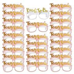 Idea Regalo - MEJOSER Kit da 25 Pezzi Occhiali per Addio al Nubilato Gadget Accessori Sposa Foto Booth Decorazione Nuziale Matrimonio Festa Notte (1pz Bride to be Bianco, 24pz Team Bride Rosa)