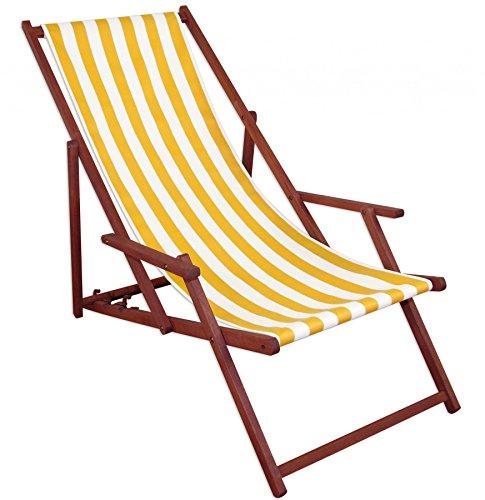 Erst-Holz Liegestuhl gelb-weiß Sonnenliege Gartenliege Deckchair Strandstuhl Massivholz Gartenmöbel 10-319