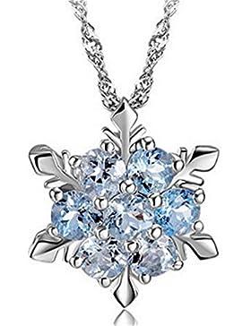 Kette Damen Mädchen mit Anhänger Sterling Silber 925er mit AAA Zirkonia Glitzer Schneeflocke Halskette Hypoallergen...