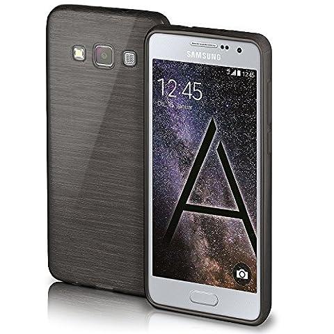 Housse de protection OneFlow pour Samsung Galaxy A5 (2015) housse silicone Case en TPU de 1,5mm | Accessoires Cover pour la protection du téléphone portable | Housse téléphone portable Bumper pochette aspect aluminium brossé en SLATE-BLACK