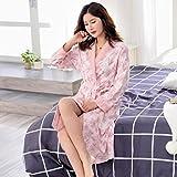 Bademäntel ZLR Frühling und Herbst Nachthemd Frauen Sommer Baumwolle Langarm Baumwolle Sexy Dünner Plus Lange Pyjamas (Farbe : Bunte, Größe : XL)