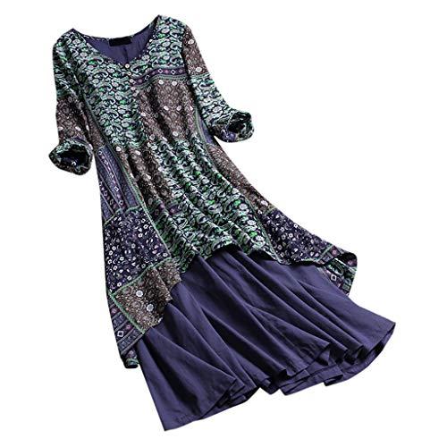 Sommer kleidet Blumendruck-Ansatz-Patchwork-Kleid-Lange Hülsen-Feiertags-beiläufige Berufung ()