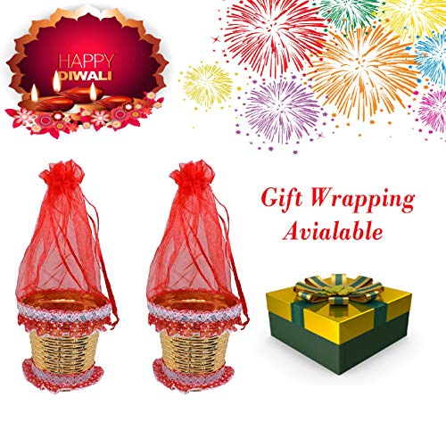 BAAL Diwali Gifts for Office Employees Decorative Fancy Basket Set of 2 Pcs Dry Fruits Baskets Decorative Designer Net Potli Diwali Gifts for Friends, Red, 20 Grams, Pack of 1