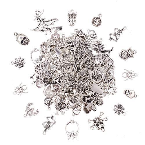 �cke 12 Stil Antike Silber Tibetische Legierung Halloween Thema Charme für DIY Schmuckherstellung ()