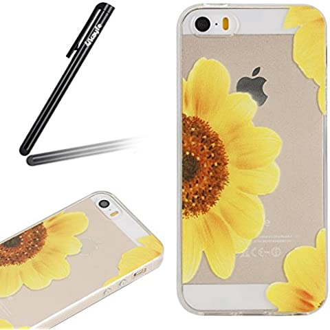 Cover iPhone 5/5S/SE Custodia TPU Silicone Cassa Gomma Soft Silicone Case Bumper Custodia Morbida Cover Ultra Sottile Leggero Custodia Flessibile Liscio Caso con Giallo Mezzo Fiore Pittura Anti Graffio Anti Scossa Anti Scratch Bumper di Protezione Trasparente flessibile Shell case Cover per iPhone 5/5S/SE plus con Free Stilo Penna