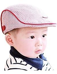 5 Cinq Adorable Bébé Enfant Fille Garçon à Rayures Béret Casquette à  Visière Chapeau de Baseball, Coton, Rose, 46… 494671cbeb9