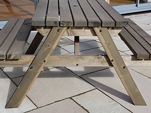 Fortem Premium - Traditional Pub Style Bench - 6Ft - Rustic Brown - Commercial Grade - Heavy Duty - Pressure Treated - Wooden Outdoor Furniture Hand Made