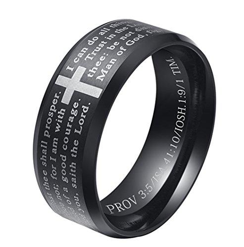 ALEXTINA Herren 8MM Edelstahl Bibel Vers Christian Kreuz Das Gebet des Herrn Ring Schwarz Größe 60