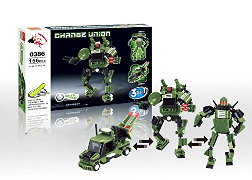 Green Turtle - Transform Roboter, Change Union Serie,0386 - 3in1 Baukasten mit 156 Teilen - Sammle alle 4 Sets und baue den Mega General