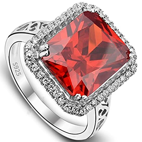 EVER FAITH® 925 Sterling Silver 5ct Radiant Cut CZ Christmas Party Ring Ruby Color - Size S