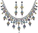 AnaZoz Bijoux Parurus Fantaisie Femme Collier Argent Elégant Design Feuille Cristal Boucles d'Oreilles & Collier Sets