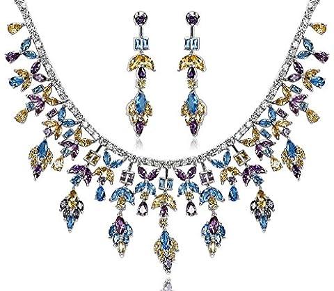 AnaZoz Bijoux Parurus Fantaisie Femme Collier Argent Elégant Design Feuille Cristal Jaune Violet Bleu Boucles d'Oreilles & Collier Sets