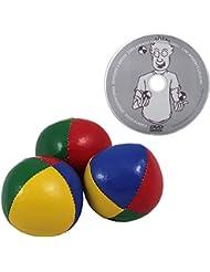 """Juggle Dream - Pack de 3 x bolas de malabares profesionales (4 colores) y DVD """"Aprender malabarismo"""" (AMPAC-015/BEACH)"""