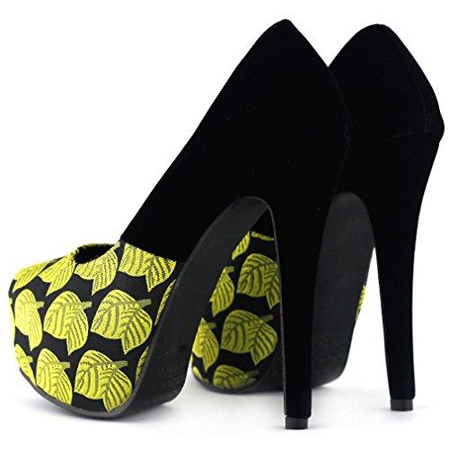 jaune feuille Spectacle cachée histoire noir forme impression noir LF80825 talon pompes Stiletto plate haut nouvelle xwE6q4wgra