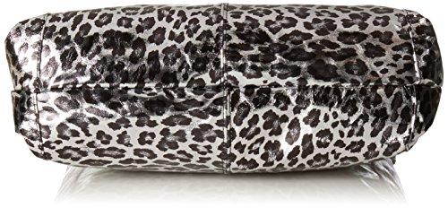 CTM Borsa a mano da donna in fantasia Animalier, vera pelle made in Italy con manici e tracolla 34x43x15 Cm Argento